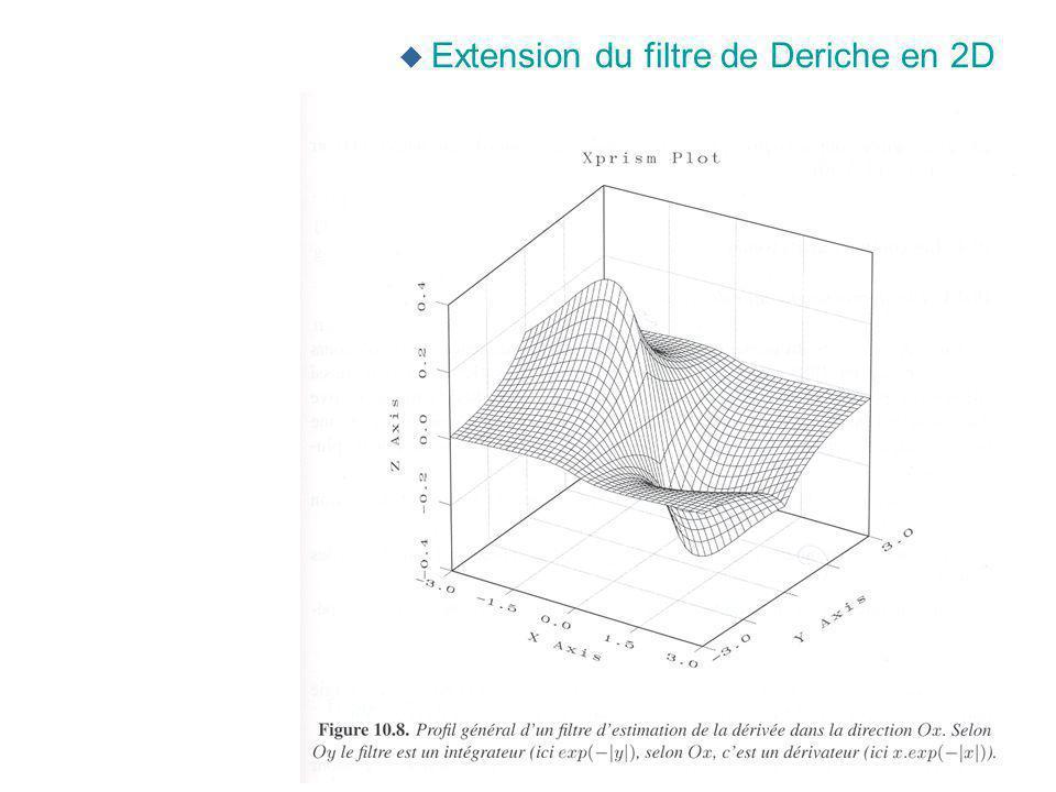 u Extension du filtre de Deriche en 2D