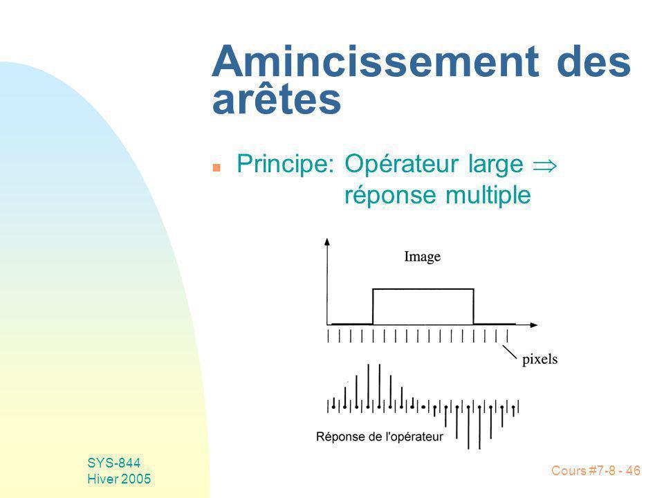 Cours #7-8 - 46 SYS-844 Hiver 2005 Amincissement des arêtes n Principe: Opérateur large réponse multiple