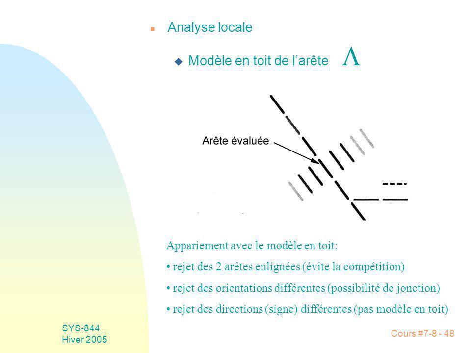 Cours #7-8 - 48 SYS-844 Hiver 2005 n Analyse locale Modèle en toit de larête Appariement avec le modèle en toit: rejet des 2 arêtes enlignées (évite la compétition) rejet des orientations différentes (possibilité de jonction) rejet des directions (signe) différentes (pas modèle en toit)