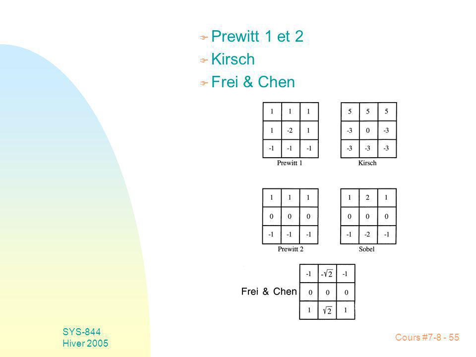 Cours #7-8 - 55 SYS-844 Hiver 2005 F Prewitt 1 et 2 F Kirsch F Frei & Chen