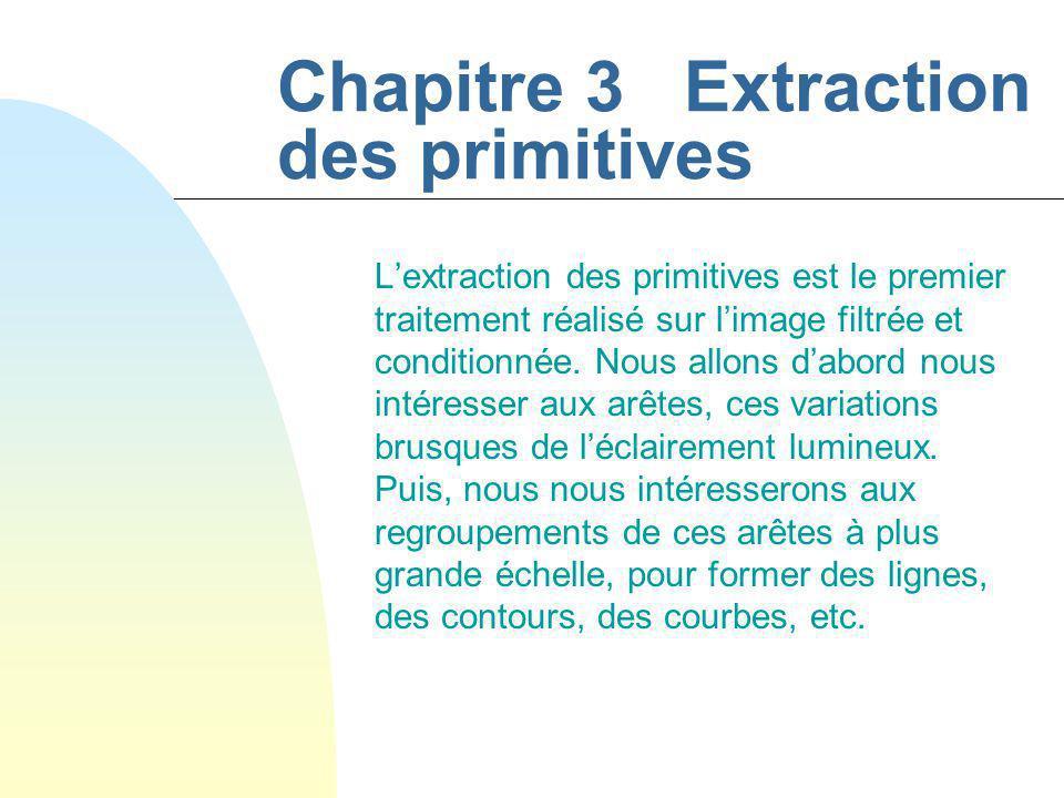 Chapitre 3 Extraction des primitives Lextraction des primitives est le premier traitement réalisé sur limage filtrée et conditionnée.
