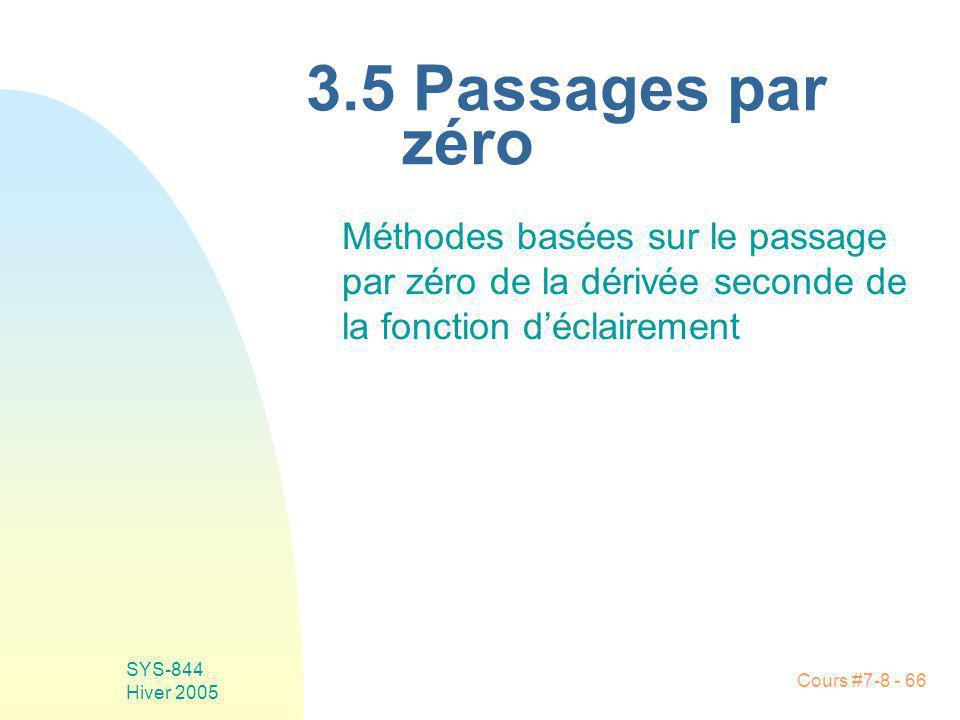 Cours #7-8 - 66 SYS-844 Hiver 2005 3.5 Passages par zéro Méthodes basées sur le passage par zéro de la dérivée seconde de la fonction déclairement