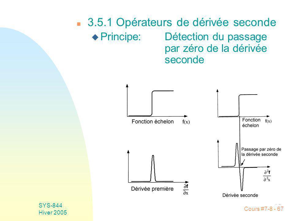 Cours #7-8 - 67 SYS-844 Hiver 2005 n 3.5.1 Opérateurs de dérivée seconde u Principe:Détection du passage par zéro de la dérivée seconde