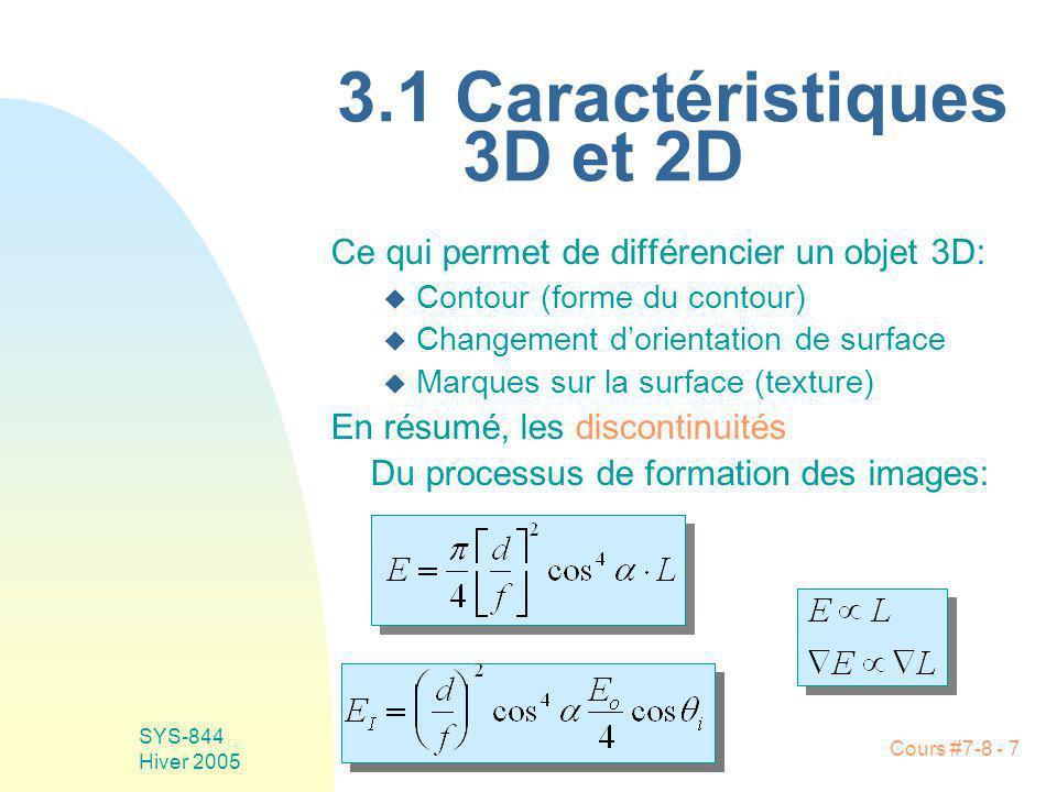 Cours #7-8 - 7 SYS-844 Hiver 2005 3.1 Caractéristiques 3D et 2D Ce qui permet de différencier un objet 3D: u Contour (forme du contour) u Changement dorientation de surface u Marques sur la surface (texture) En résumé, les discontinuités Du processus de formation des images: