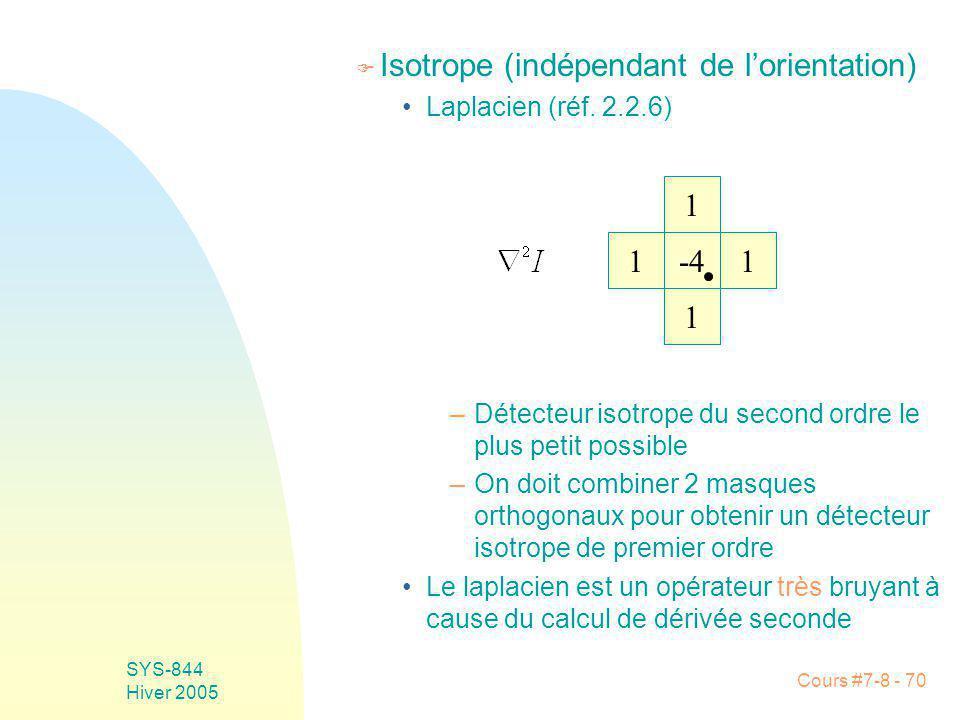 Cours #7-8 - 70 SYS-844 Hiver 2005 F Isotrope (indépendant de lorientation) Laplacien (réf.