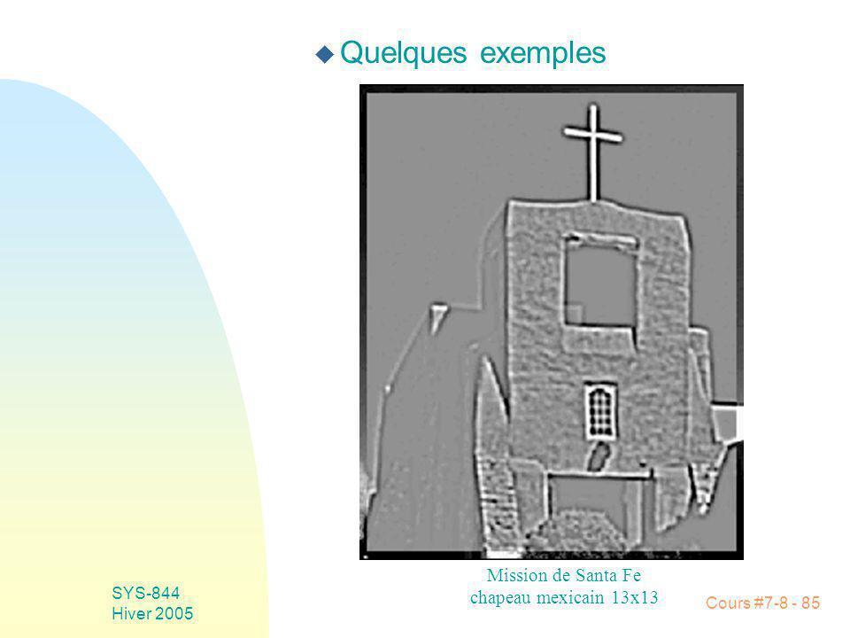 Cours #7-8 - 85 SYS-844 Hiver 2005 u Quelques exemples Mission de Santa Fe chapeau mexicain 13x13