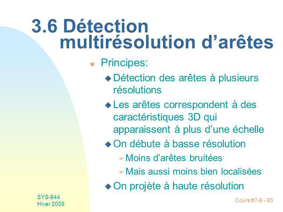 Cours #7-8 - 93 SYS-844 Hiver 2005 3.6 Détection multirésolution darêtes n Principes: u Détection des arêtes à plusieurs résolutions u Les arêtes correspondent à des caractéristiques 3D qui apparaissent à plus dune échelle u On débute à basse résolution F Moins darêtes bruitées F Mais aussi moins bien localisées u On projète à haute résolution