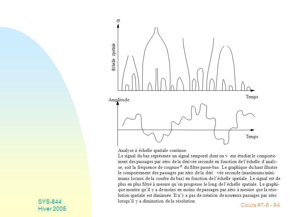 Cours #7-8 - 94 SYS-844 Hiver 2005 Analyse à échelle spatiale continue.
