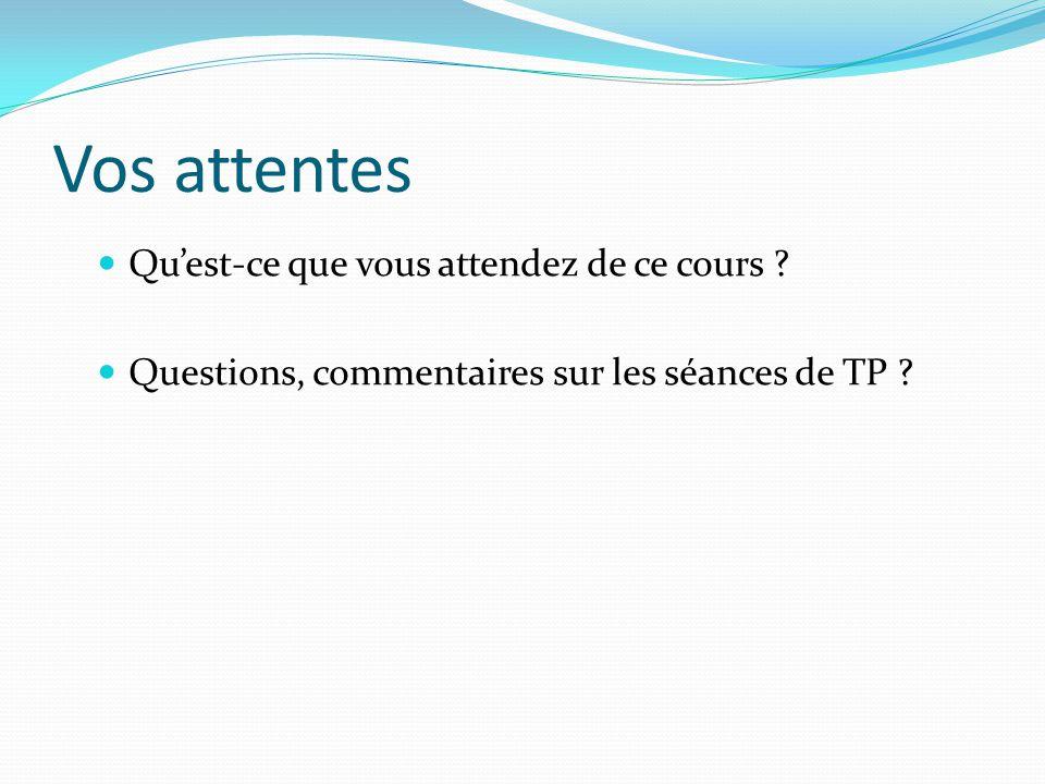 Vos attentes Quest-ce que vous attendez de ce cours ? Questions, commentaires sur les séances de TP ?