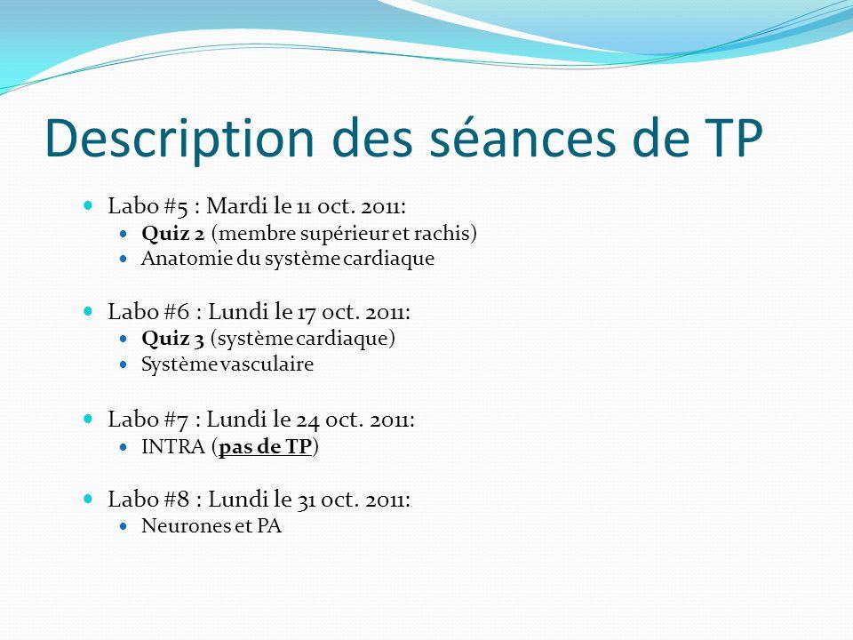 Description des séances de TP Labo #5 : Mardi le 11 oct. 2011: Quiz 2 (membre supérieur et rachis) Anatomie du système cardiaque Labo #6 : Lundi le 17