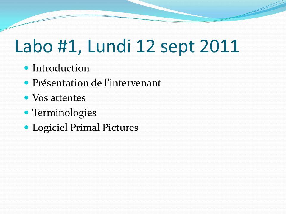 Labo #1, Lundi 12 sept 2011 Introduction Présentation de lintervenant Vos attentes Terminologies Logiciel Primal Pictures