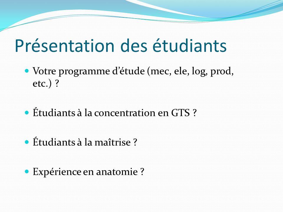 Présentation des étudiants Votre programme détude (mec, ele, log, prod, etc.) ? Étudiants à la concentration en GTS ? Étudiants à la maîtrise ? Expéri