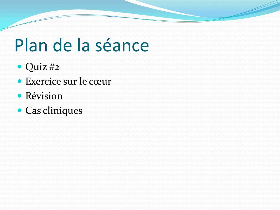 Plan de la séance Quiz #2 Exercice sur le cœur Révision Cas cliniques