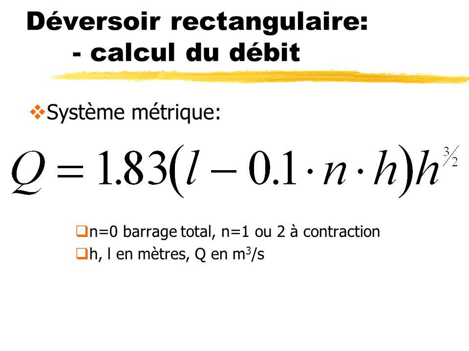 Déversoir rectangulaire: - calcul du débit Système métrique: n=0 barrage total, n=1 ou 2 à contraction h, l en mètres, Q en m 3 /s