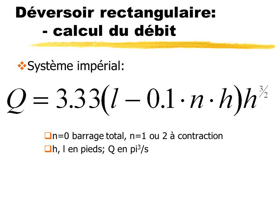 Déversoir rectangulaire: - calcul du débit Système impérial: n=0 barrage total, n=1 ou 2 à contraction h, l en pieds; Q en pi 3 /s