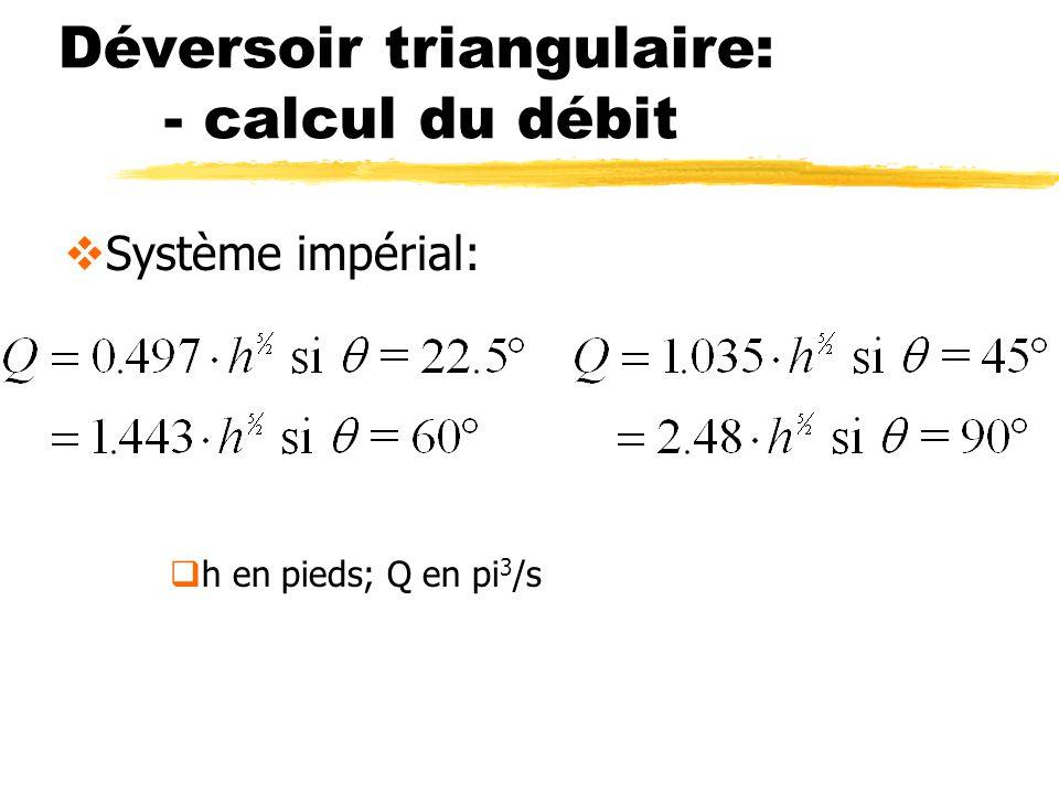 Déversoir triangulaire: - calcul du débit Système impérial: h en pieds; Q en pi 3 /s