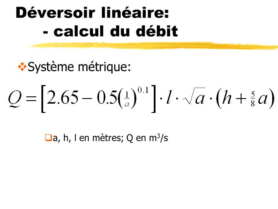 Déversoir linéaire: - calcul du débit Système métrique: a, h, l en mètres; Q en m 3 /s
