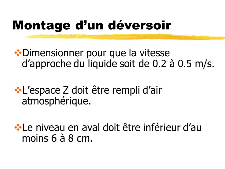 Montage dun déversoir Dimensionner pour que la vitesse dapproche du liquide soit de 0.2 à 0.5 m/s. Lespace Z doit être rempli dair atmosphérique. Le n