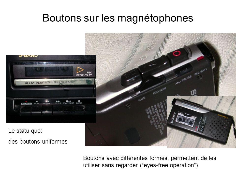 Boutons sur les magnétophones Le statu quo: des boutons uniformes Boutons avec différentes formes: permettent de les utiliser sans regarder (eyes-free operation)