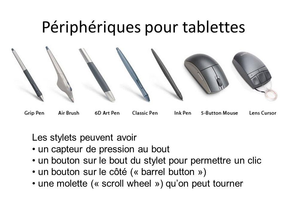 Périphériques pour tablettes Les stylets peuvent avoir un capteur de pression au bout un bouton sur le bout du stylet pour permettre un clic un bouton sur le côté (« barrel button ») une molette (« scroll wheel ») quon peut tourner