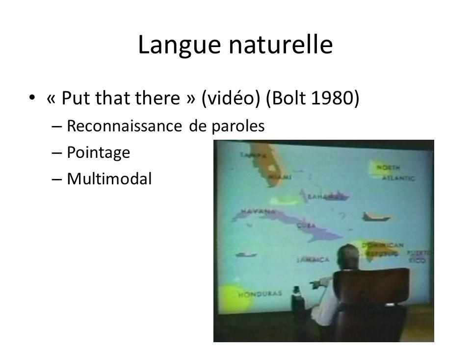 Langue naturelle « Put that there » (vidéo) (Bolt 1980) – Reconnaissance de paroles – Pointage – Multimodal