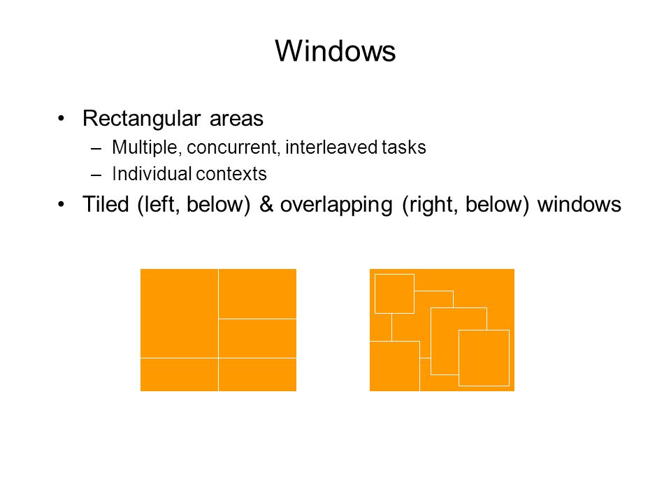 Windows Rectangular areas –Multiple, concurrent, interleaved tasks –Individual contexts Tiled (left, below) & overlapping (right, below) windows