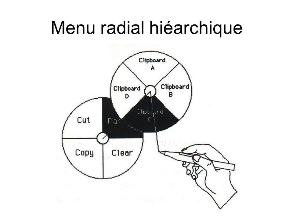 Menu radial hiéarchique