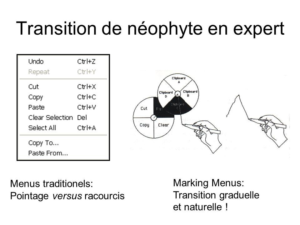 Transition de néophyte en expert Menus traditionels: Pointage versus racourcis Marking Menus: Transition graduelle et naturelle !