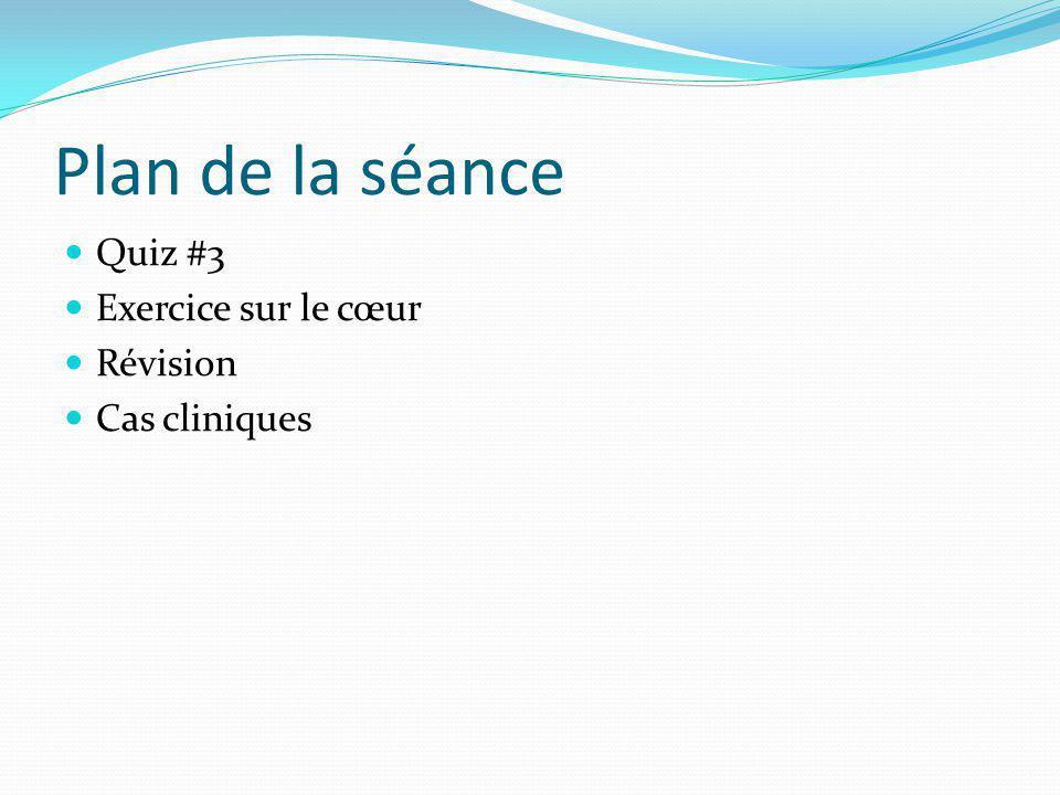 Plan de la séance Quiz #3 Exercice sur le cœur Révision Cas cliniques
