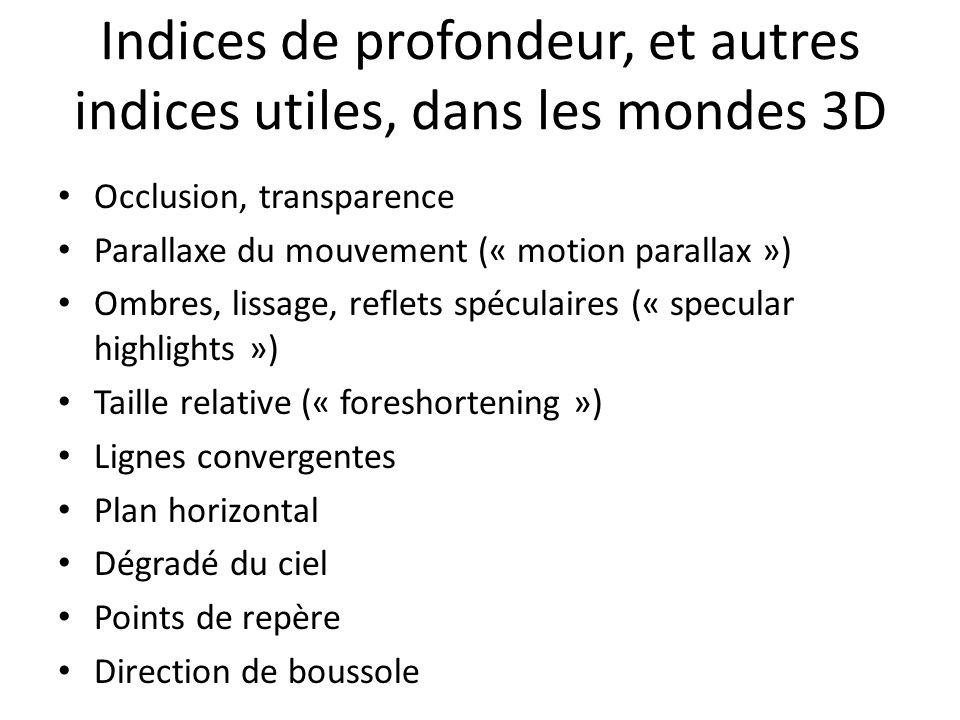 Indices de profondeur, et autres indices utiles, dans les mondes 3D Occlusion, transparence Parallaxe du mouvement (« motion parallax ») Ombres, lissa