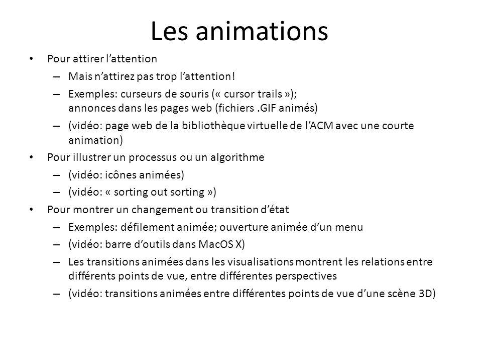 Les animations Pour attirer lattention – Mais nattirez pas trop lattention! – Exemples: curseurs de souris (« cursor trails »); annonces dans les page