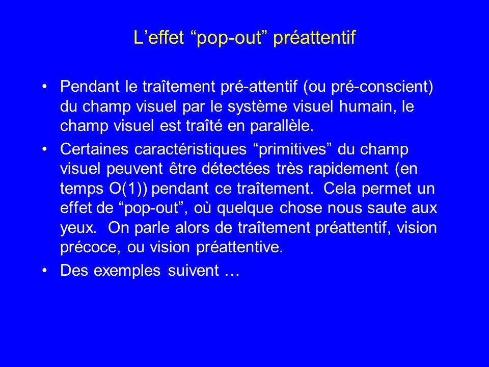 Leffet pop-out préattentif Pendant le traîtement pré-attentif (ou pré-conscient) du champ visuel par le système visuel humain, le champ visuel est tra