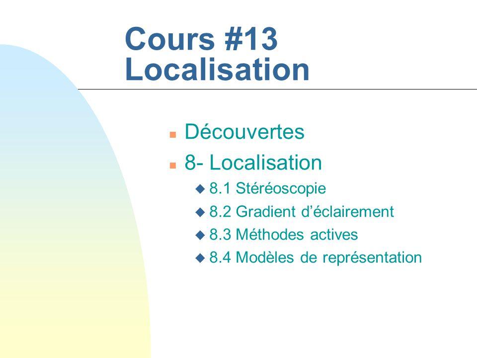 Cours #13 Localisation n Découvertes n 8- Localisation u 8.1 Stéréoscopie u 8.2 Gradient déclairement u 8.3 Méthodes actives u 8.4 Modèles de représen