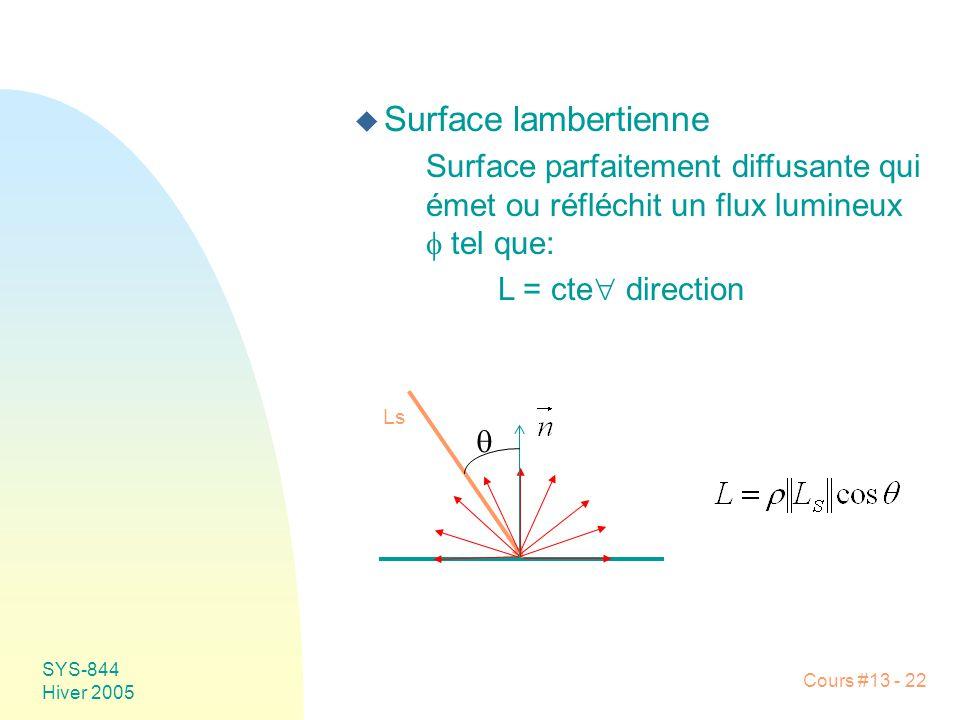 Cours #13 - 22 SYS-844 Hiver 2005 u Surface lambertienne Surface parfaitement diffusante qui émet ou réfléchit un flux lumineux tel que: L = cte direc