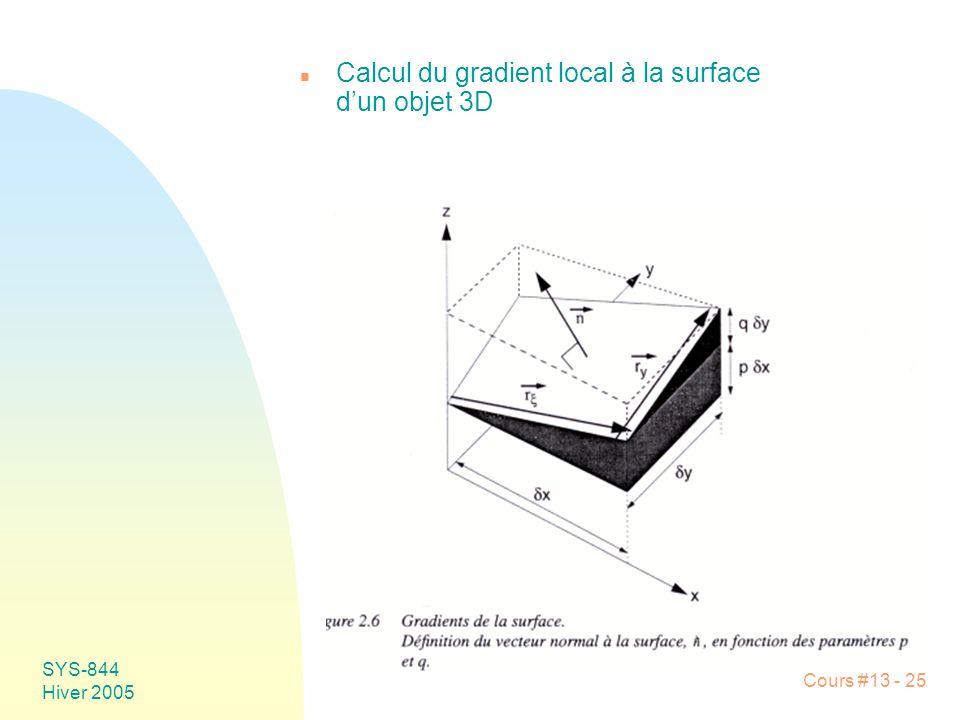 Cours #13 - 25 SYS-844 Hiver 2005 n Calcul du gradient local à la surface dun objet 3D