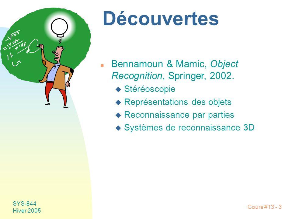 Cours #13 - 14 SYS-844 Hiver 2005 Géométrie épipolaire