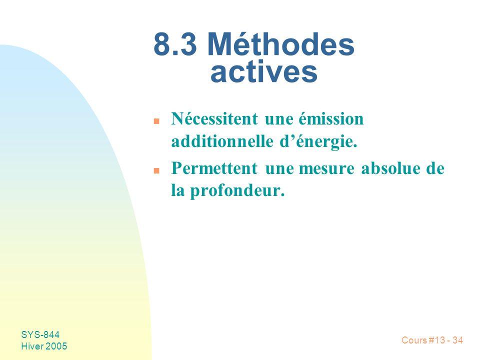 Cours #13 - 34 SYS-844 Hiver 2005 8.3 Méthodes actives n Nécessitent une émission additionnelle dénergie. n Permettent une mesure absolue de la profon