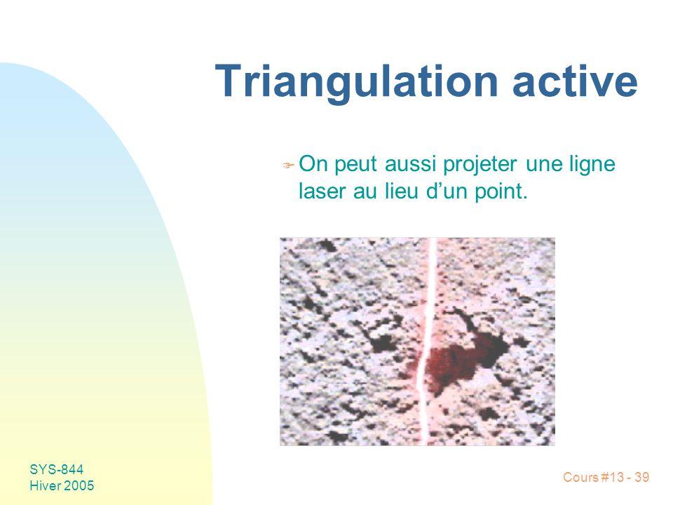 Cours #13 - 39 SYS-844 Hiver 2005 Triangulation active F On peut aussi projeter une ligne laser au lieu dun point.