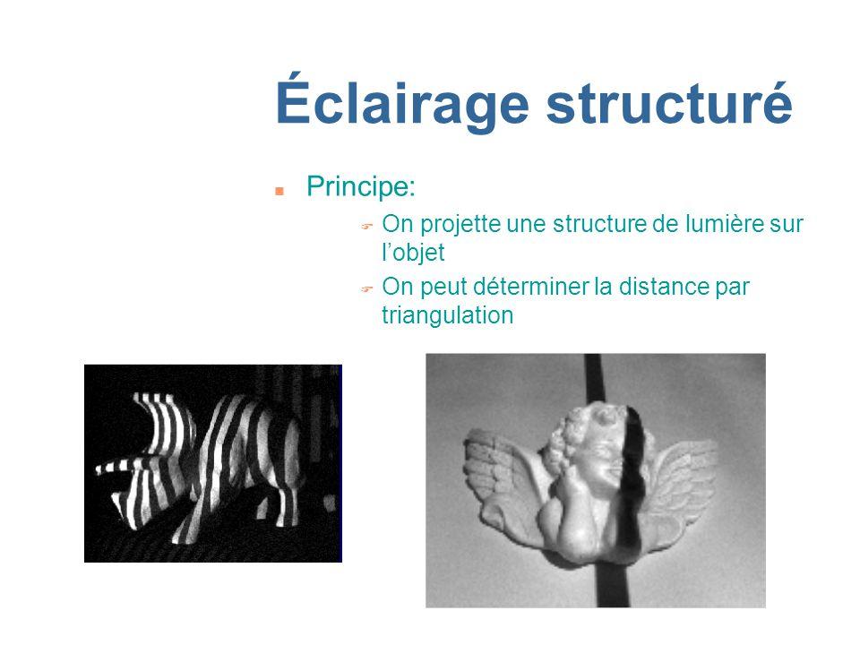 Éclairage structuré n Principe: F On projette une structure de lumière sur lobjet F On peut déterminer la distance par triangulation