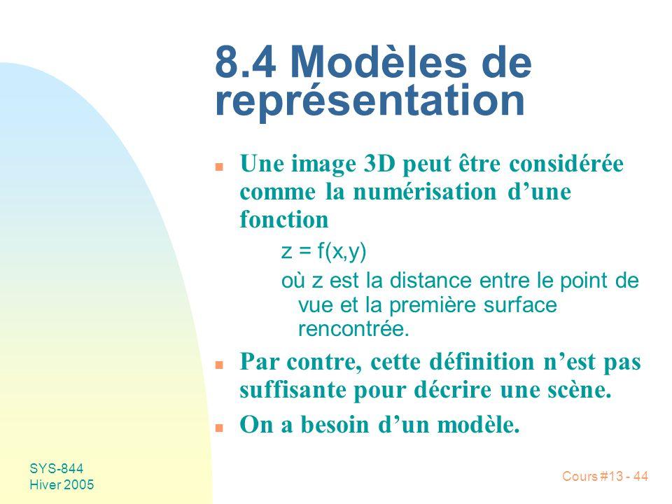 Cours #13 - 44 SYS-844 Hiver 2005 8.4 Modèles de représentation n Une image 3D peut être considérée comme la numérisation dune fonction z = f(x,y) où