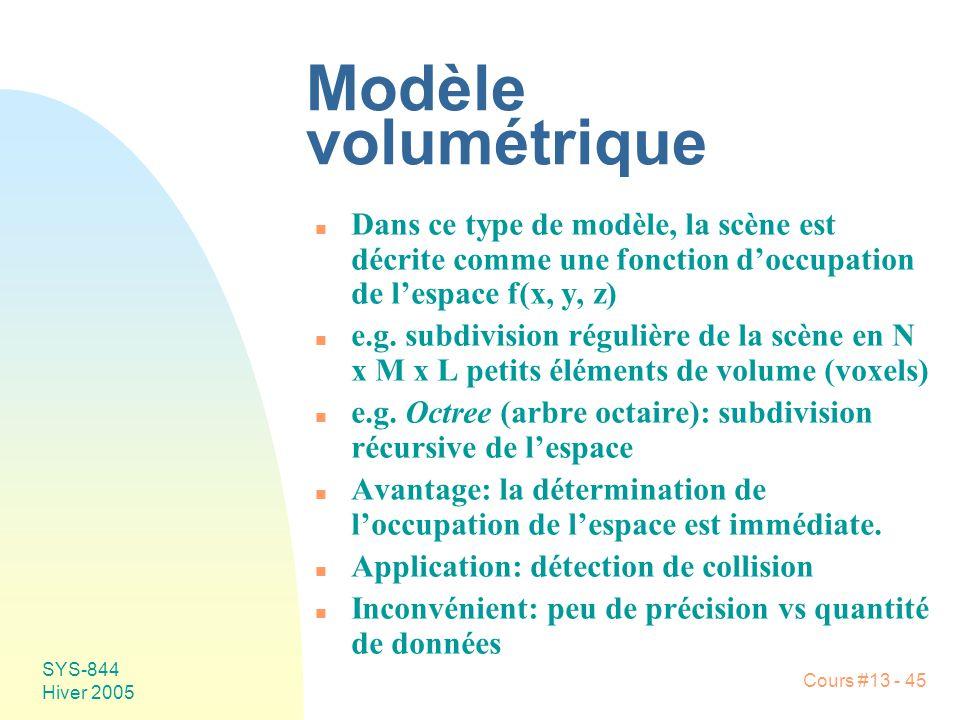 Cours #13 - 45 SYS-844 Hiver 2005 Modèle volumétrique n Dans ce type de modèle, la scène est décrite comme une fonction doccupation de lespace f(x, y,