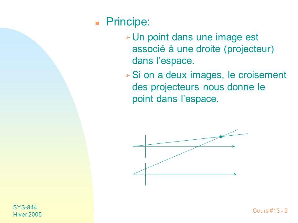 Cours #13 - 9 SYS-844 Hiver 2005 n Principe: F Un point dans une image est associé à une droite (projecteur) dans lespace. F Si on a deux images, le c