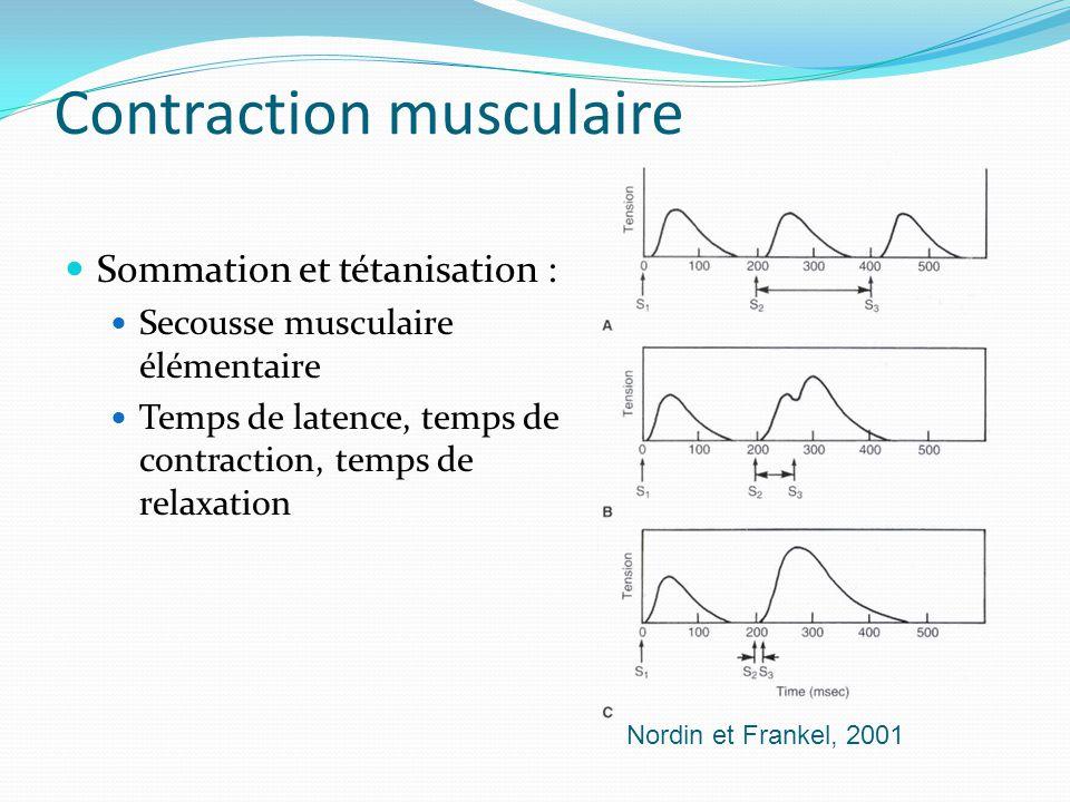 Contraction musculaire Sommation et tétanisation : Secousse musculaire élémentaire Temps de latence, temps de contraction, temps de relaxation Nordin