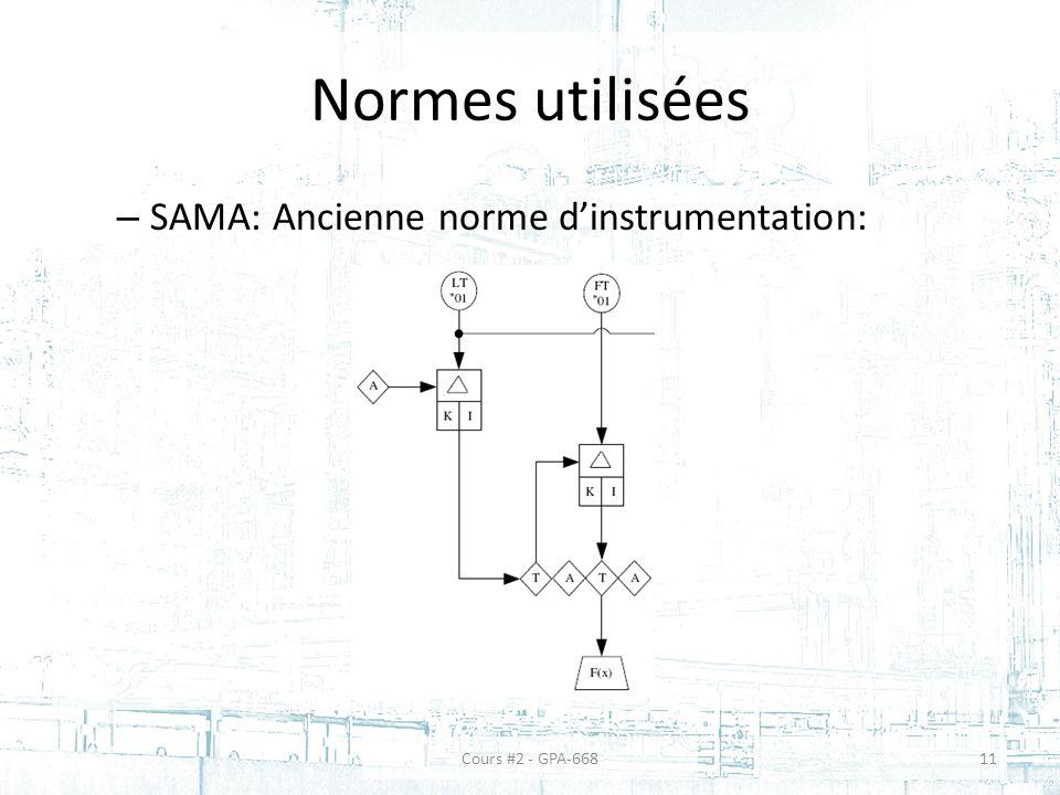 Normes utilisées – SAMA: Ancienne norme dinstrumentation: 11Cours #2 - GPA-668