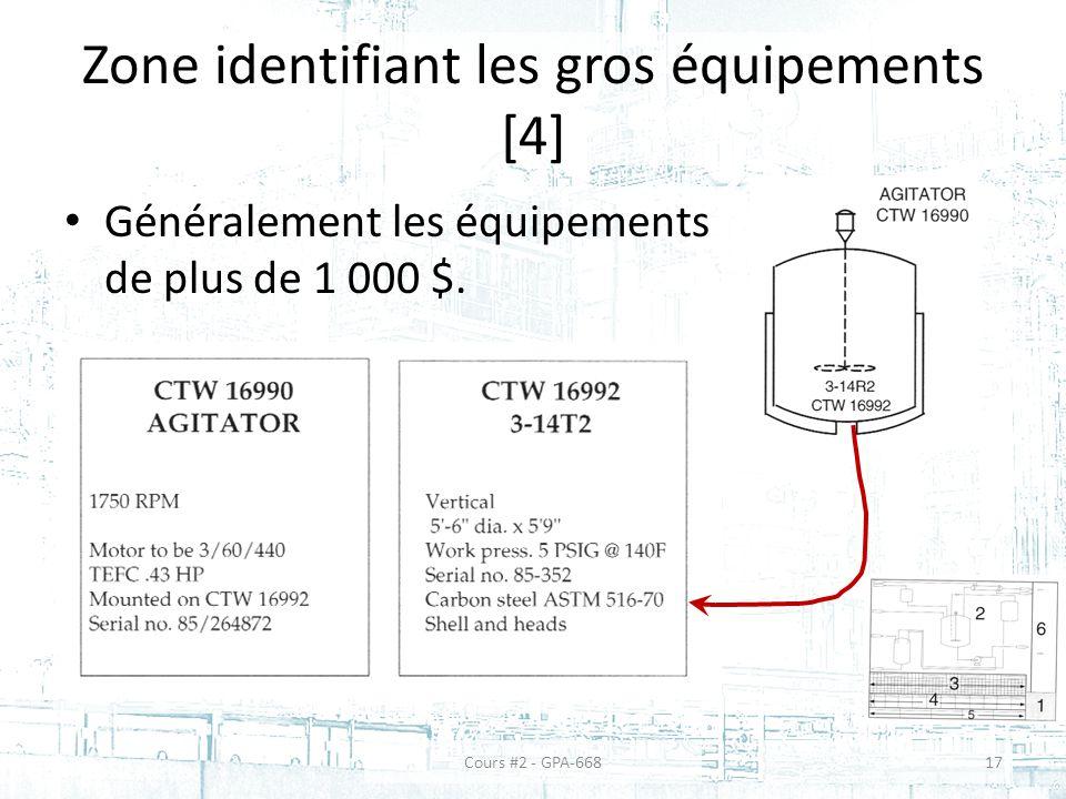 Zone identifiant les gros équipements [4] Généralement les équipements de plus de 1 000 $.