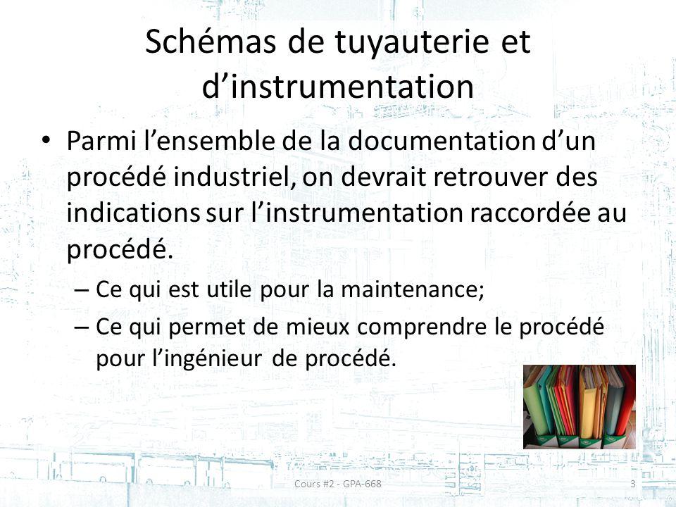 Schémas de tuyauterie et dinstrumentation Parmi lensemble de la documentation dun procédé industriel, on devrait retrouver des indications sur linstrumentation raccordée au procédé.