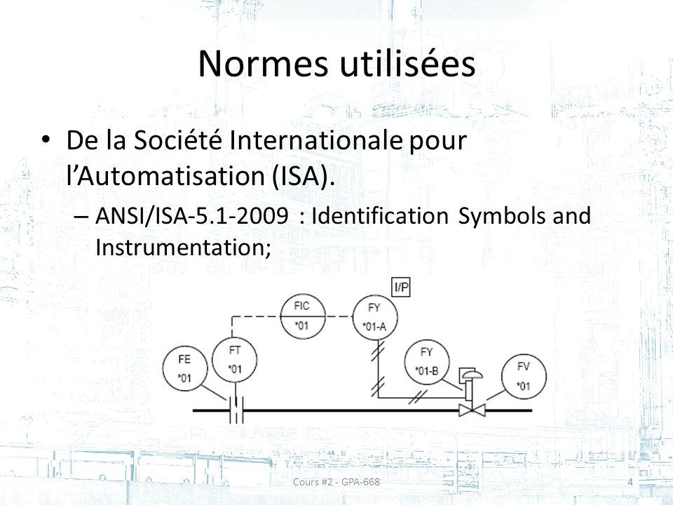 Normes utilisées De la Société Internationale pour lAutomatisation (ISA).