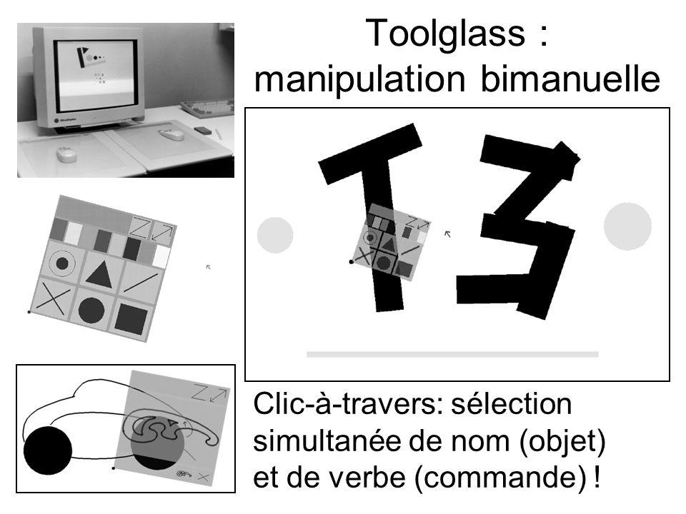 Toolglass : manipulation bimanuelle Clic-à-travers: sélection simultanée de nom (objet) et de verbe (commande) !