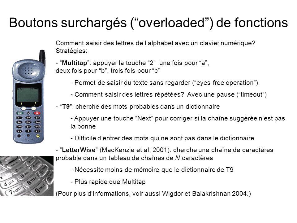 Boutons surchargés (overloaded) de fonctions Comment saisir des lettres de lalphabet avec un clavier numérique? Stratégies: - Multitap: appuyer la tou