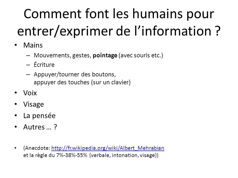 Comment font les humains pour entrer/exprimer de linformation ? Mains – Mouvements, gestes, pointage (avec souris etc.) – Écriture – Appuyer/tourner d